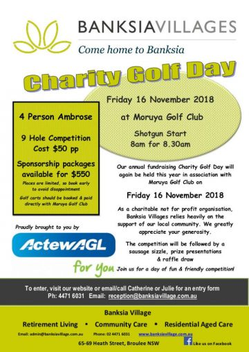 Banksia Villages Charity Golf Day Flyer